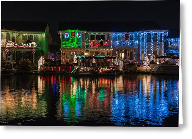 Yorba Greeting Cards - The House of Colorful Christmas Lights 2 Greeting Card by Nadim Baki