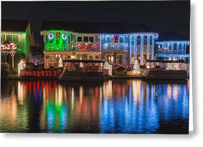 Yorba Greeting Cards - The House of Colorful Christmas Lights Greeting Card by Nadim Baki