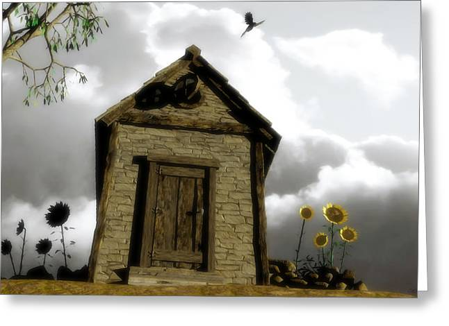 Shack Greeting Cards - The House of Light and Shadow Greeting Card by Cynthia Decker