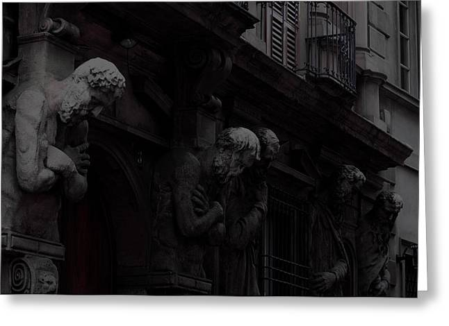 Wooden Sculpture Greeting Cards - The House of Omenoni  Five Statues Moonlight Milan Italy Greeting Card by Sally Rockefeller