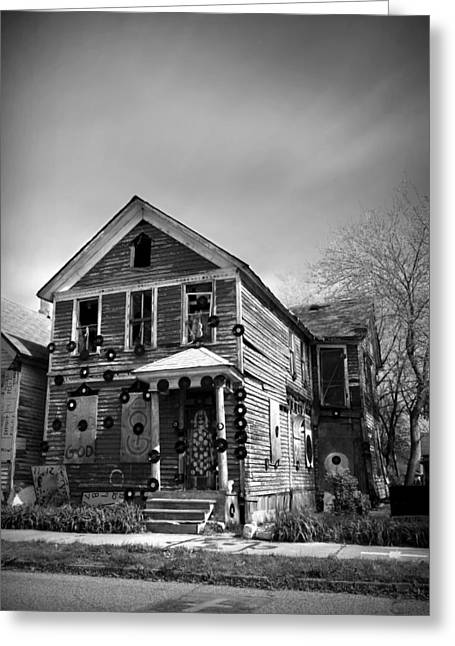 Tyree Greeting Cards - The House of Soul At The Heidelberg Project - Detroit Michigan - BW Greeting Card by Gordon Dean II