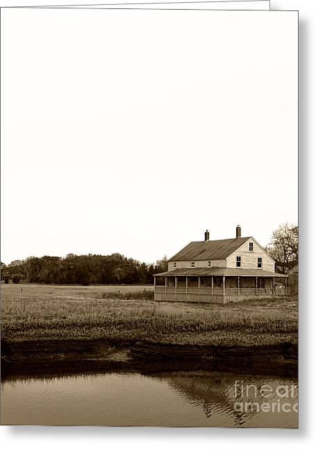 The House On Essex Salt Marsh-sepia Greeting Card by K Hines