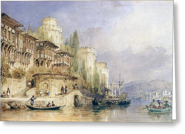 Istanbul Greeting Cards - The House On The Bosphorus Greeting Card by Thomas Allom