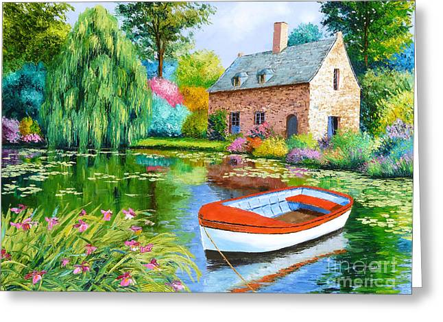 Weeping Digital Art Greeting Cards - The House Pond Greeting Card by Jean-Marc Janiaczyk