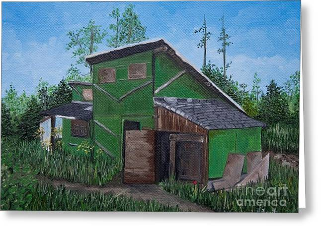 Mountain Cabin Paintings Greeting Cards - The House that Hans Built Greeting Card by Reb Frost