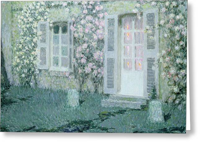 Post-impressionism Greeting Cards - The House with Roses Greeting Card by Henri Eugene Augustin Le Sidaner