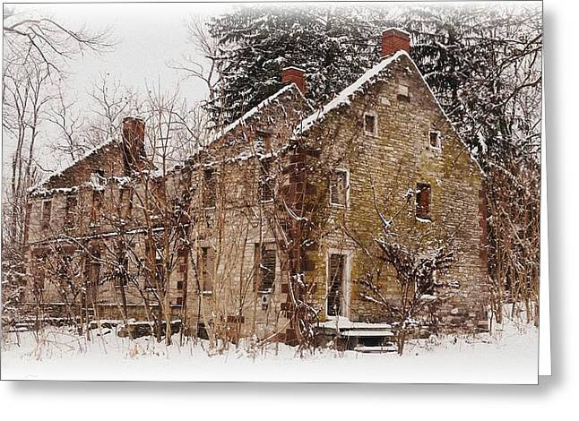 Abandoned House Pyrography Greeting Cards - The House With Three Chimneys Greeting Card by Michael Swartz