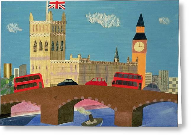 Naive Art Greeting Cards - The Houses Of Parliament Collage Greeting Card by William Cooper