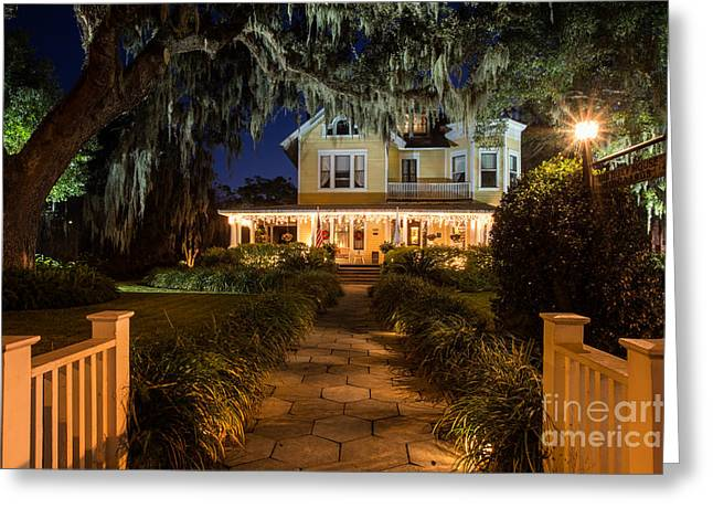 Beach At Night Greeting Cards - The Hoyt House at Christmas Amelia Island Florida Greeting Card by Dawna  Moore Photography