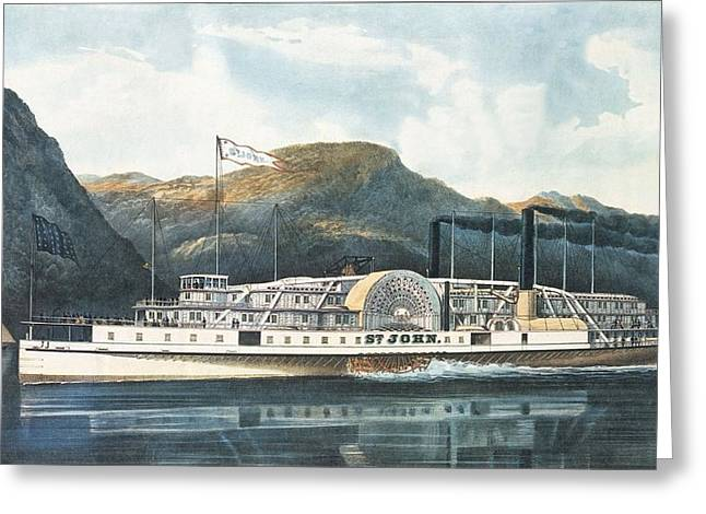 Paddling Greeting Cards - The Hudson River Steamboat St. John, Published 1864 Colour Litho Greeting Card by N. Currier