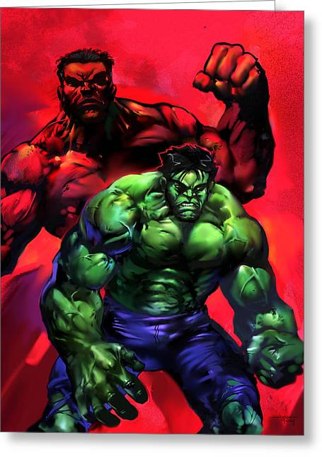 The Vault Digital Greeting Cards - The Hulks Greeting Card by Ashraf Ghori