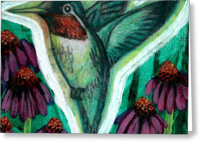 Stretching Drawings Greeting Cards - The Hummingbird 2 Greeting Card by Genevieve Esson
