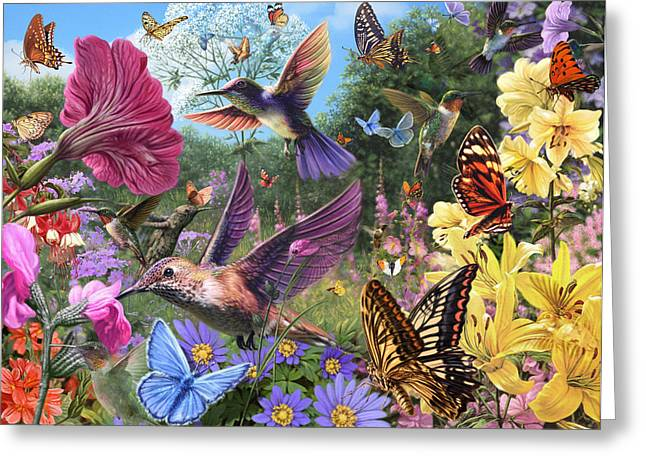 Purity Greeting Cards - The Hummingbird Garden Greeting Card by Steve Read