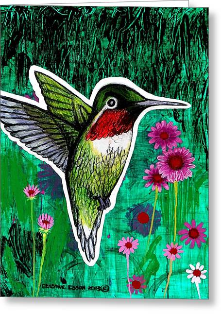 Pink Blossoms Drawings Greeting Cards - The Hummingbird Greeting Card by Genevieve Esson