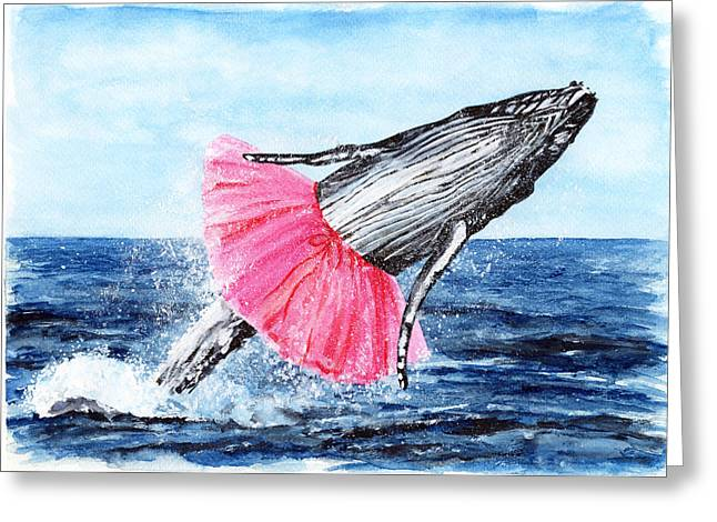 Right Whale Breach Greeting Cards - The Humpback Ballerina Greeting Card by Carlo Ghirardelli