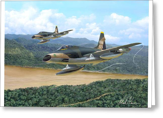 Hoa Greeting Cards - The Hun - F-100 Super Sabres in Vietnam Greeting Card by Mark Karvon
