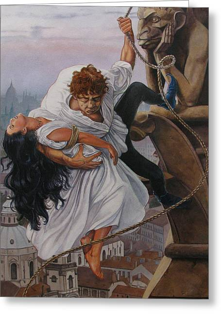 Victor Hugo Prints Greeting Cards - The Hunchback of Notre Dame Greeting Card by Patrick Whelan