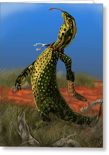 Goanna Greeting Cards - The Hunter Greeting Card by Emily F