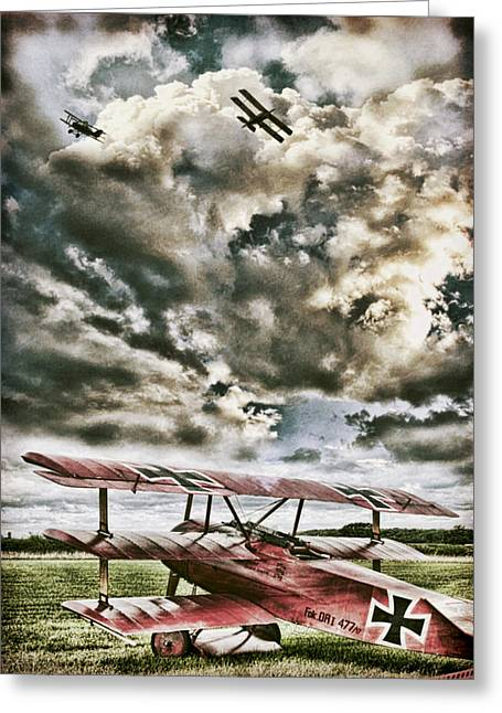 Biplane Greeting Cards - The Hunter Greeting Card by Peter Chilelli