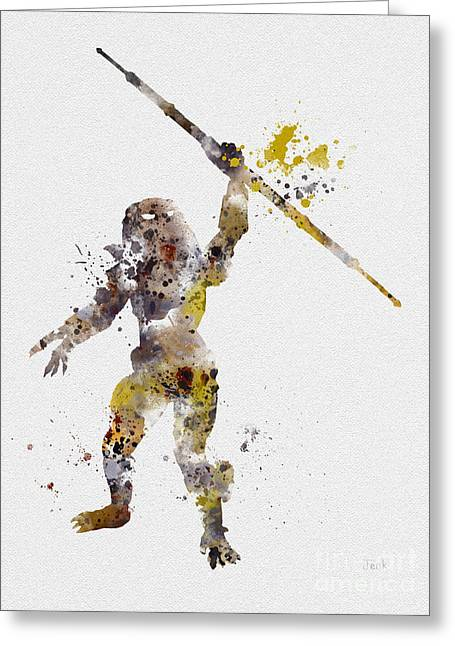 Schwarzenegger Greeting Cards - The Hunter Greeting Card by Rebecca Jenkins