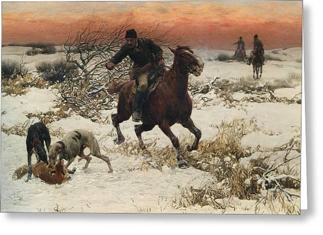 The Hunters Greeting Card by A Wierusz Kowalski