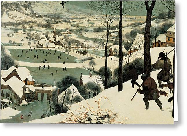 Dog In Snow Greeting Cards - The Hunters in the Snow Greeting Card by Jan the Elder Brueghel