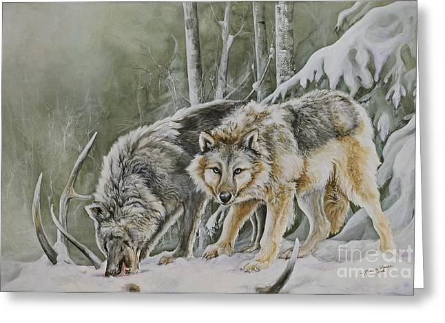 Wolves In Nature Greeting Cards - The Hunters Greeting Card by Nonie Wideman