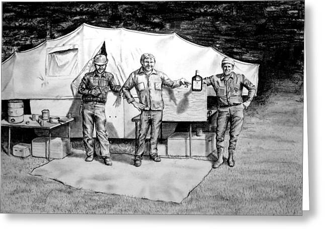 Booze Drawings Greeting Cards - The Hunters Greeting Card by Todd Spaur