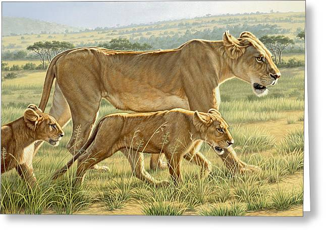 Wildlife Greeting Cards - The Hunting Lesson Greeting Card by Paul Krapf