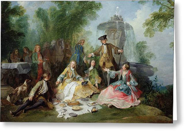 Period Greeting Cards - The Hunting Party Meal, C. 1737 Oil On Canvas Greeting Card by Nicolas Lancret