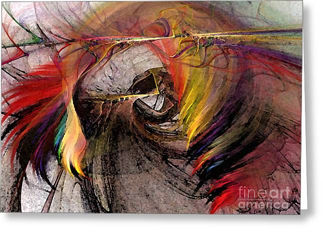 Large Sized Greeting Cards - The Huntress-Abstract Art Greeting Card by Karin Kuhlmann