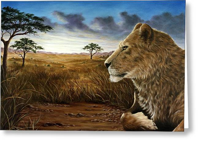 Lioness Greeting Cards - The Huntress Greeting Card by Rick Bainbridge
