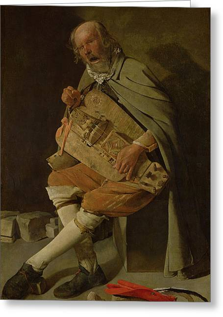 Elderly Hands Greeting Cards - The Hurdy Gurdy Player Greeting Card by Georges de la Tour
