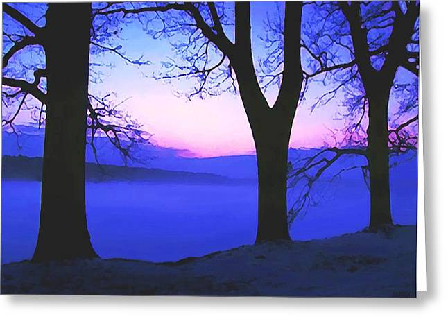 Winter Scenes Rural Scenes Mixed Media Greeting Cards - The Hush At First Light Greeting Card by SophiaArt Gallery