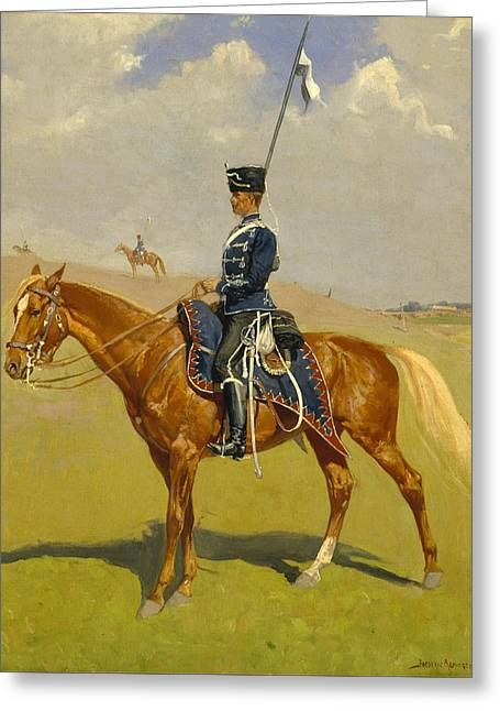 Remington Greeting Cards - The Hussar Greeting Card by Frederic Remington