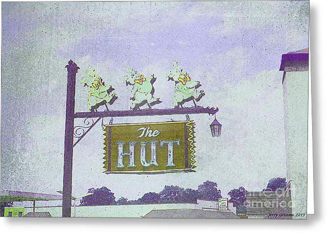 Best Sellers -  - Tennessee Landmark Greeting Cards - The Hut BBQ Restaurant Sign Greeting Card by Jerry Grissom