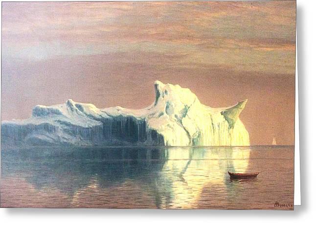 Bierstadt Digital Art Greeting Cards - The Iceberg Greeting Card by Albert Bierstadt