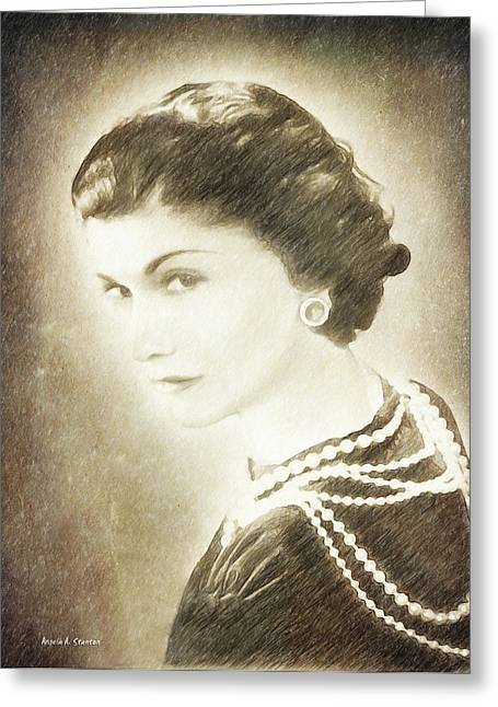 Mix Medium Paintings Greeting Cards - The Icon of Elegance Greeting Card by Angela A Stanton