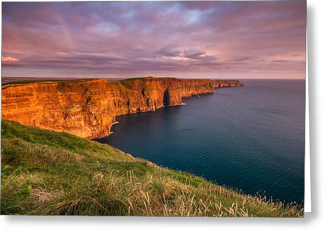 Adventure Of The Seas Greeting Cards - The Iconic Cliffs of Moher at sunset on the west coast of Ireland Greeting Card by Pierre Leclerc Photography
