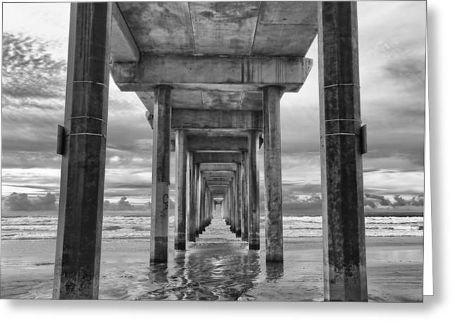 Seascape Photography Greeting Cards - The Iconic Scripps Pier Greeting Card by Larry Marshall