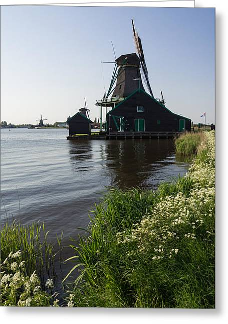 Zaanse Schans Greeting Cards - The Iconic Windmills of  Holland  Greeting Card by Georgia Mizuleva