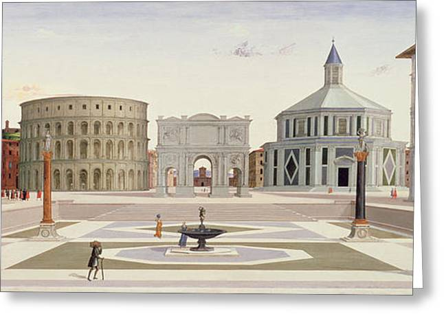 Town Square Drawings Greeting Cards - The Ideal City Greeting Card by Fra Carnevale