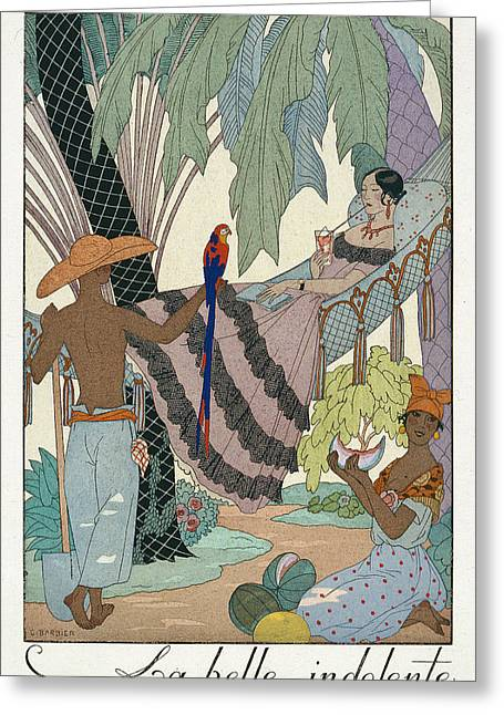 Melon Paintings Greeting Cards - The idle beauty Greeting Card by Georges Barbier