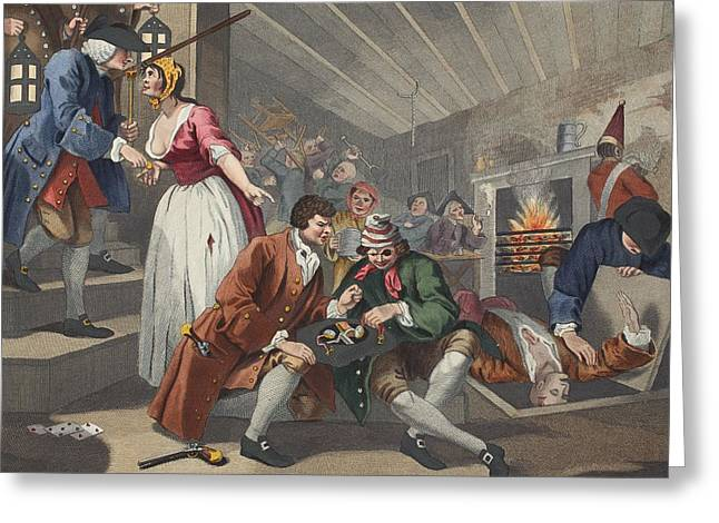 Basement Drawings Greeting Cards - The Idle Prentice Betrayed Greeting Card by William Hogarth