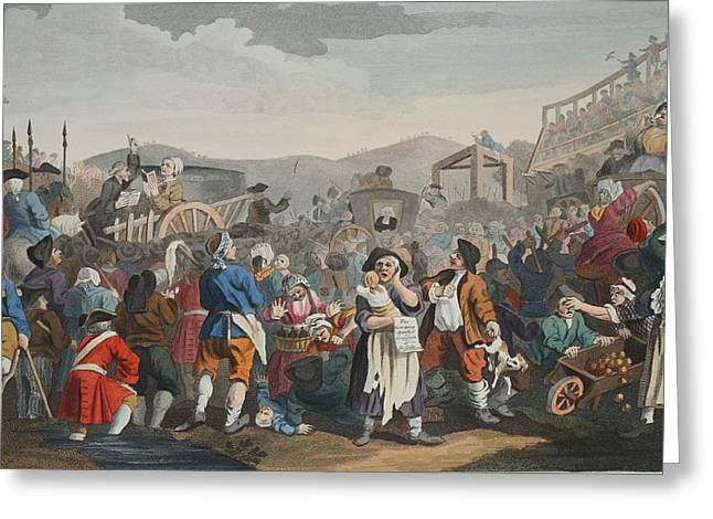 Moral Drawings Greeting Cards - The Idle Prentice Executed At Tyburn Greeting Card by William Hogarth
