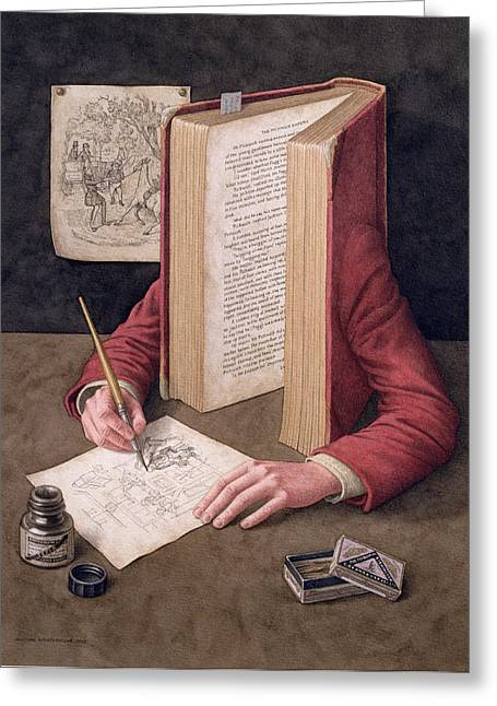 Anthropomorphic Greeting Cards - The Illustrator, 2005 Wc On Paper Greeting Card by Jonathan Wolstenholme