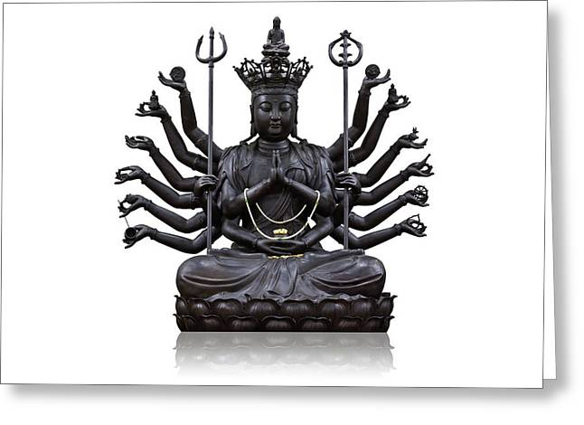 Kuan Greeting Cards - The images of Guanyin black Greeting Card by Tosporn Preede