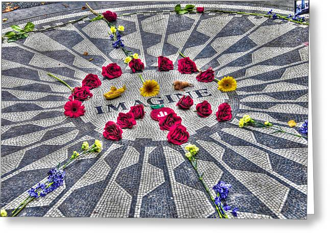 Strawberry Art Greeting Cards - The Imagine Mosaic at Strawberry Fields Central Park Greeting Card by Randy Aveille