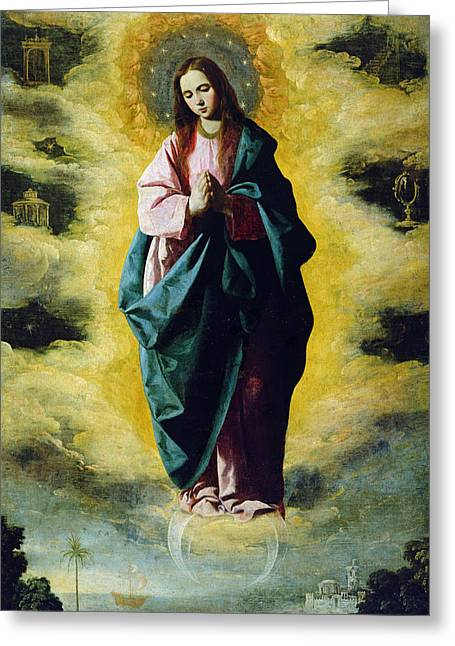 Virgin Photographs Greeting Cards - The Immaculate Conception, C.1630-35 Oil On Canvas Greeting Card by Francisco de Zurbaran