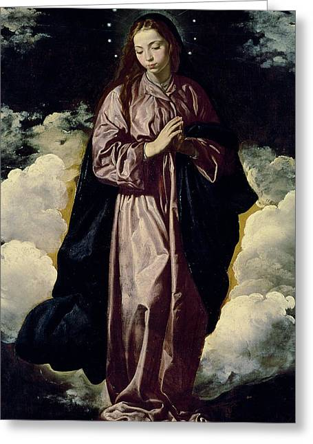 Praying Hands Paintings Greeting Cards - The Immaculate Conception Greeting Card by Diego Rodriguez de Silva y Velazquez